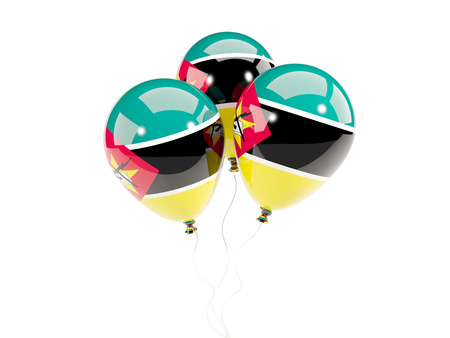 Three balloons with flag of mozambique isolated on white. 3D illustration