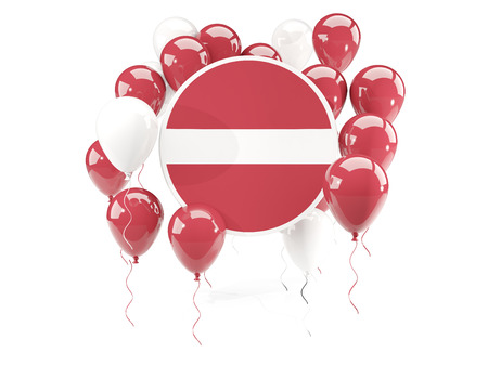 Round flag of latvia with balloons isolated on white. 3D illustration Stock Photo