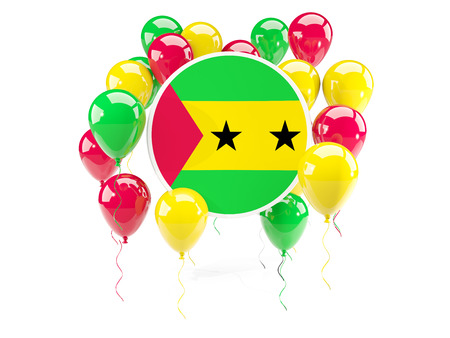 Round flag of sao tome and principe with balloons isolated on white. 3D illustration