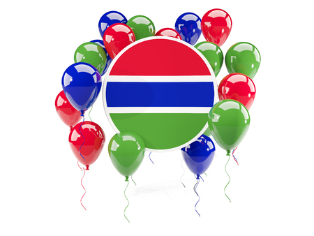 gambia: Round flag of gambia with balloons isolated on white. 3D illustration