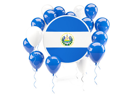 Round flag of el salvador with balloons isolated on white. 3D illustration