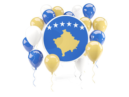 Round flag of kosovo with balloons isolated on white. 3D illustration