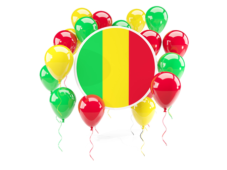 mali: Round flag of mali with balloons isolated on white. 3D illustration