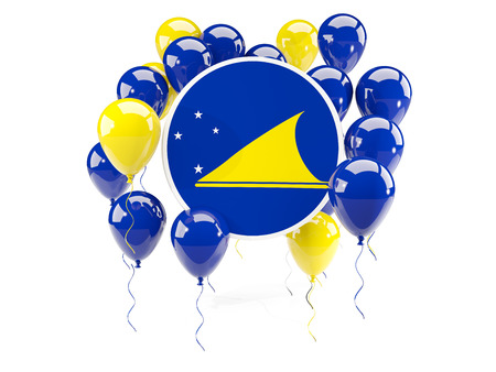 Round flag of tokelau with balloons isolated on white. 3D illustration Stock Photo