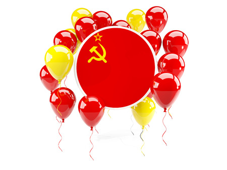 Round flag of ussr with balloons isolated on white. 3D illustration Stock Photo