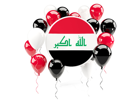 iraq: Round flag of iraq with balloons isolated on white. 3D illustration Stock Photo