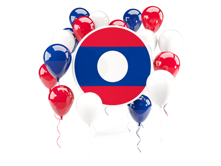 Round flag of laos with balloons isolated on white. 3D illustration Stock Photo