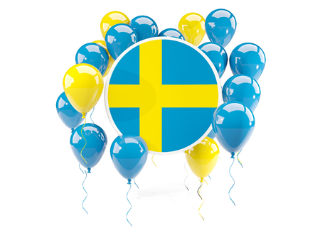 bandera de suecia: Round flag of sweden with balloons isolated on white. 3D illustration