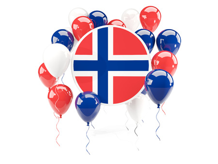 norway flag: Round flag of norway with balloons isolated on white. 3D illustration