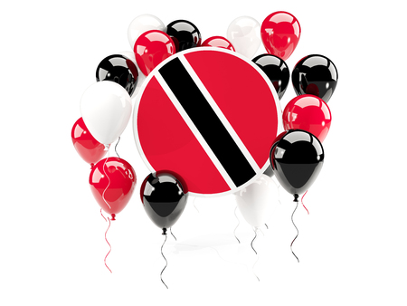 Round flag of trinidad and tobago with balloons isolated on white. 3D illustration