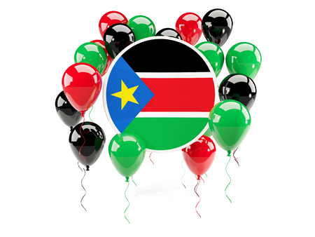 south sudan: Round flag of south sudan with balloons isolated on white. 3D illustration