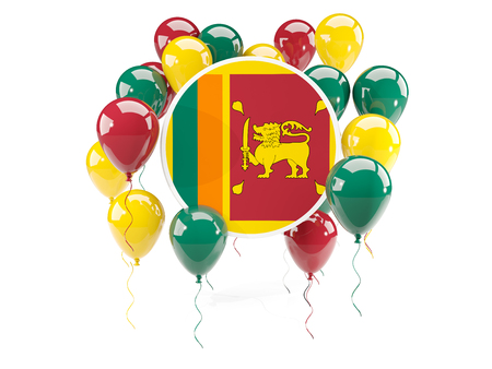 Round flag of sri lanka with balloons isolated on white. 3D illustration