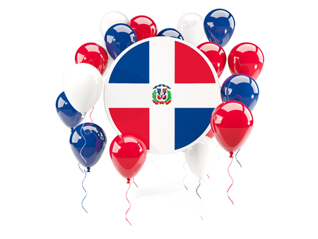 Round flag of dominican republic with balloons isolated on white. 3D illustration