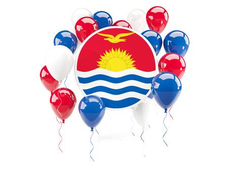 Round flag of kiribati with balloons isolated on white. 3D illustration Stock Photo