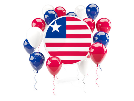 Round flag of liberia with balloons isolated on white. 3D illustration Stock Photo