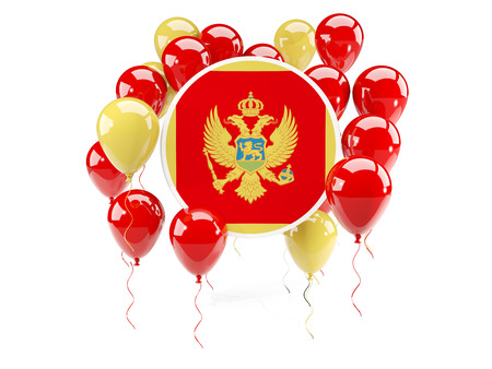 Round flag of montenegro with balloons isolated on white. 3D illustration