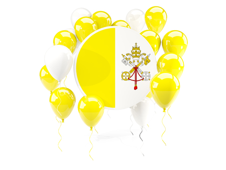 Round flag of vatican city with balloons isolated on white. 3D illustration Stock Photo
