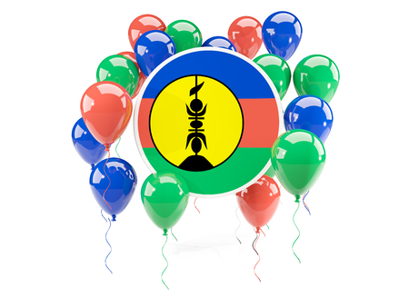 Round flag of new caledonia with balloons isolated on white. 3D illustration