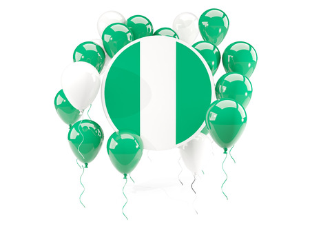 country nigeria: Round flag of nigeria with balloons isolated on white. 3D illustration Stock Photo