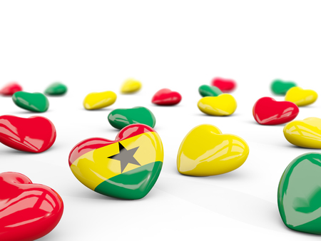 Heart with flag of ghana isolated on white. 3D illustration