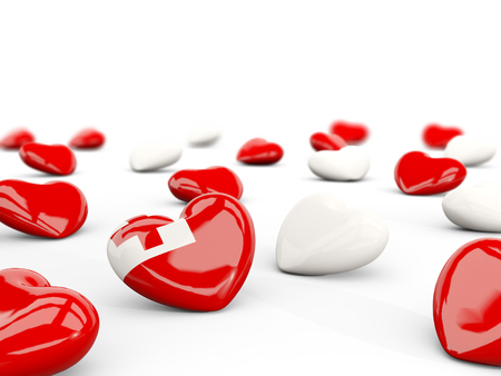 tonga: Heart with flag of tonga isolated on white. 3D illustration Stock Photo