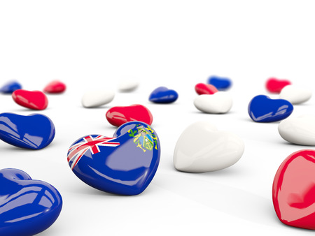 pitcairn: Heart with flag of pitcairn islands isolated on white. 3D illustration