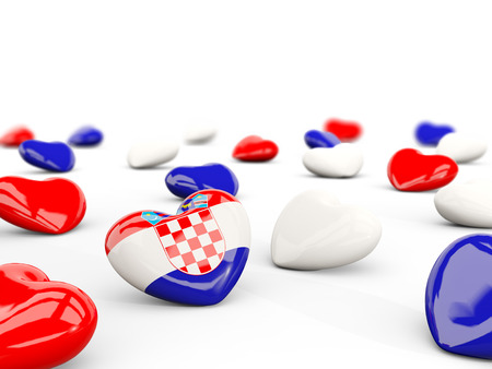 bandera croacia: Heart with flag of croatia isolated on white. 3D illustration Foto de archivo