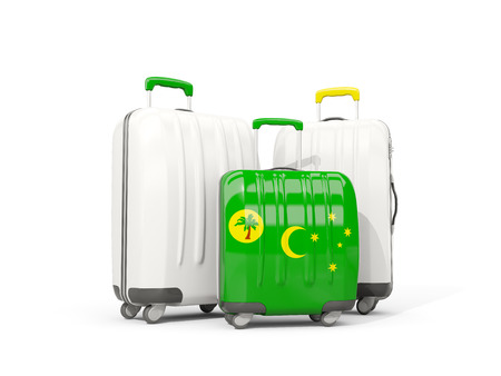 Luggage with flag of cocos islands. Three bags isolated on white. 3D illustration