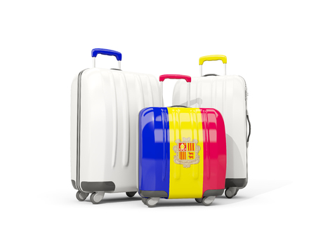 tourism in andorra: Luggage with flag of andorra. Three bags isolated on white. 3D illustration