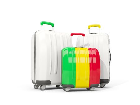 mali: Luggage with flag of mali. Three bags isolated on white. 3D illustration