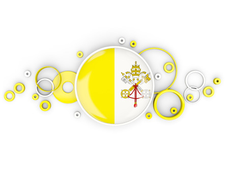 Round flag of vatican city with circles pattern isolated on white. 3D illustration Stock Photo