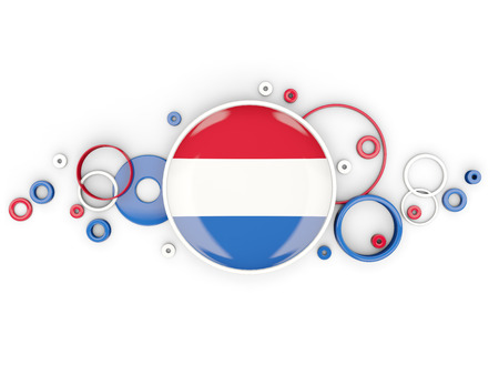 Round flag of netherlands with circles pattern isolated on white. 3D illustration