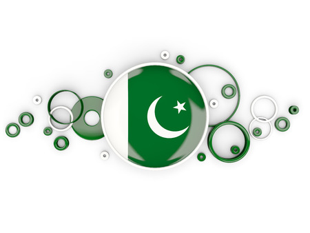 flag of pakistan: Round flag of pakistan with circles pattern isolated on white. 3D illustration Stock Photo