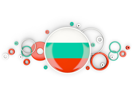 Round flag of bulgaria with circles pattern isolated on white. 3D illustration