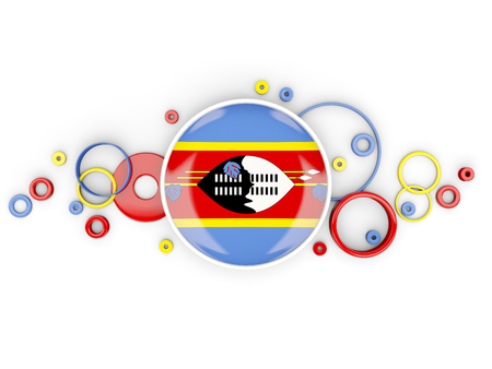 Round flag of swaziland with circles pattern isolated on white. 3D illustration