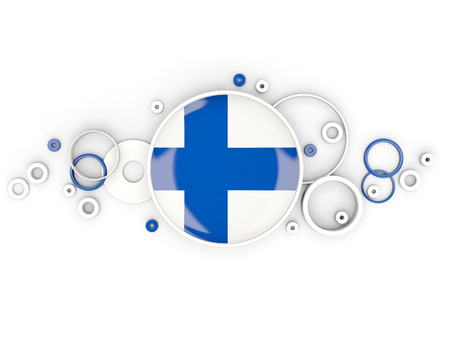Round flag of finland with circles pattern isolated on white. 3D illustration