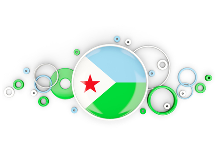 djibouti: Round flag of djibouti with circles pattern isolated on white. 3D illustration Stock Photo
