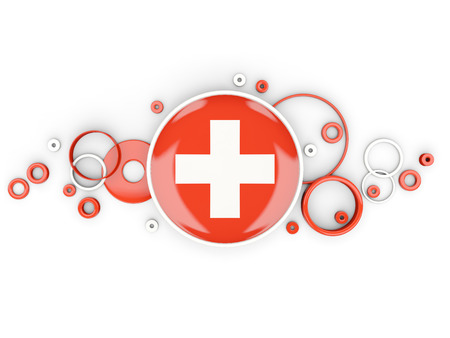 Round flag of switzerland with circles pattern isolated on white. 3D illustration