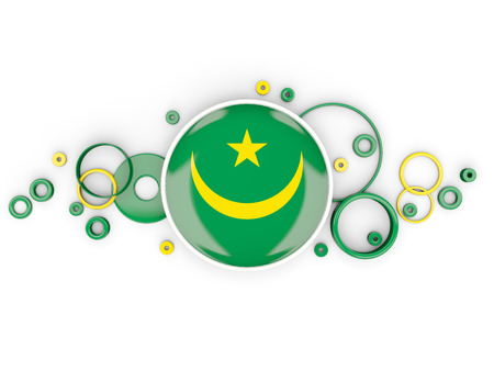 Round flag of mauritania with circles pattern isolated on white. 3D illustration