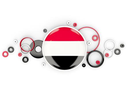 yemen: Round flag of yemen with circles pattern isolated on white. 3D illustration Stock Photo