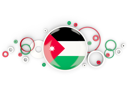 Round flag of jordan with circles pattern isolated on white. 3D illustration Stock Photo