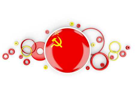 Round flag of ussr with circles pattern isolated on white. 3D illustration Stock Photo