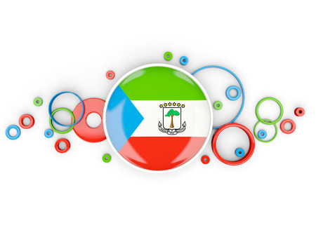 Round flag of equatorial guinea with circles pattern isolated on white. 3D illustration Stock Photo