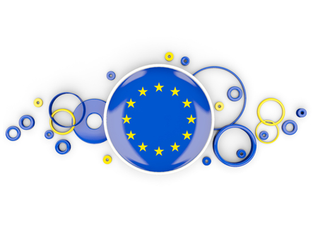 Round flag of european union with circles pattern isolated on white. 3D illustration