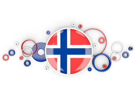 norway flag: Round flag of norway with circles pattern isolated on white. 3D illustration