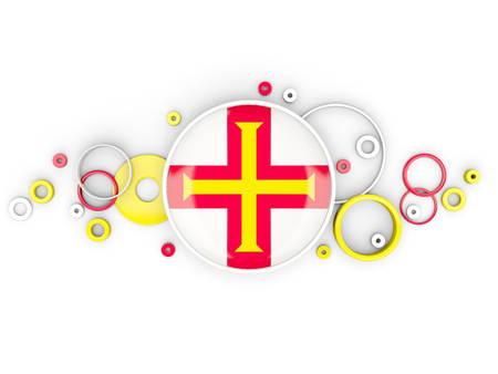 guernsey: Round flag of guernsey with circles pattern isolated on white. 3D illustration Stock Photo