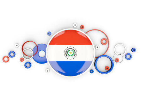 bandera de paraguay: Round flag of paraguay with circles pattern isolated on white. 3D illustration