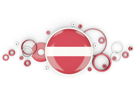 Round flag of latvia with circles pattern isolated on white. 3D illustration