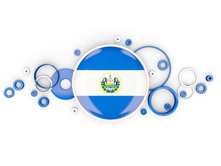 bandera de el salvador: Bandera redonda de el salvador con patrón de círculos aislados en blanco. Ilustración 3D Foto de archivo