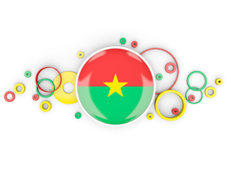 Round flag of burkina faso with circles pattern isolated on white. 3D illustration Stock Photo